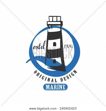 Marine logo original design estd 1976, retro badge for nautical school, sport club, business identity, print products vector Illustration isolated on a white background. stock photo