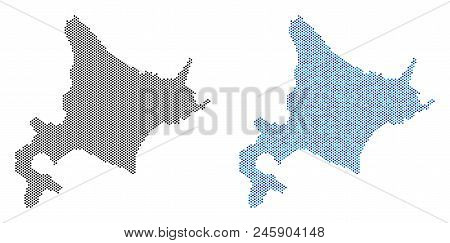 Dotted Hokkaido Island map version. Vector geographic plans in black color and cold blue color shades. Abstract composition of Hokkaido Island map done with small circle item array. stock photo