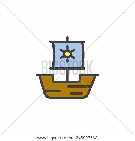 Caravel ship filled outline icon, line vector sign, linear colorful pictogram isolated on white. Drakkar viking, junk symbol, logo illustration. Pixel perfect vector graphics stock photo