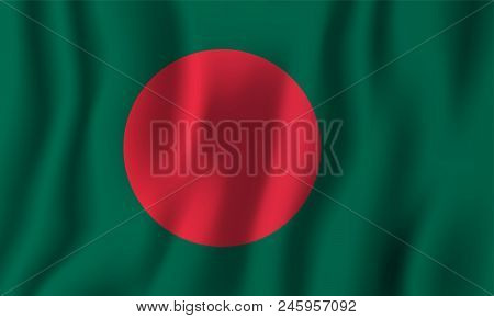 Bangladesh realistic waving flag vector illustration. National country background symbol. Independence day. stock photo