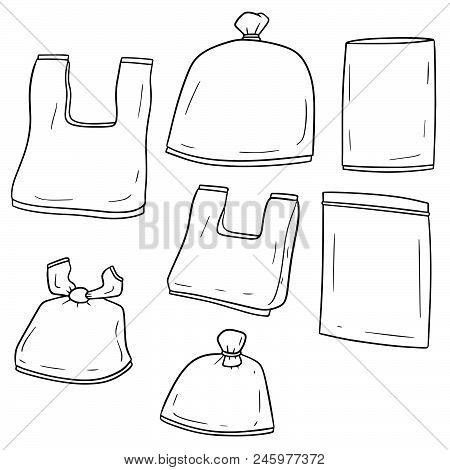 vector set of plastic bag hand drawn cartoon stock photo