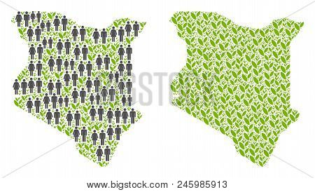 People population and flora plants Kenya map. Vector pattern of Kenya map formed of random lady and gentleman and sprout items in various sizes. Abstract social plan of nation audience cartography. stock photo