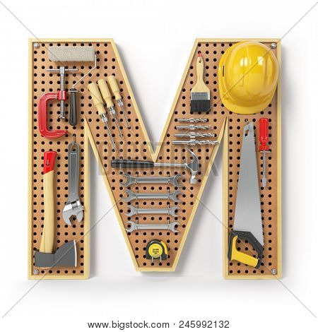 Letter M. Alphabet from the tools on the metal pegboard isolated on white.  3d illustration stock photo