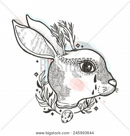 Sketch graphic illustration rabbit with mystic and occult hand drawn symbols. Vector illustration. Astrological and esoteric concept. Vintage Hands with Old Fashion Tattoos. Freemasonry and secret societies emblems stock photo