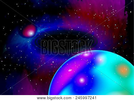 Fantastic planet in deep space. Star field in space and a nebulae. Abstract background of universe and a gas congestion. Spiral galaxy space with black holes. Mars planet mission exploration. Vector stock photo