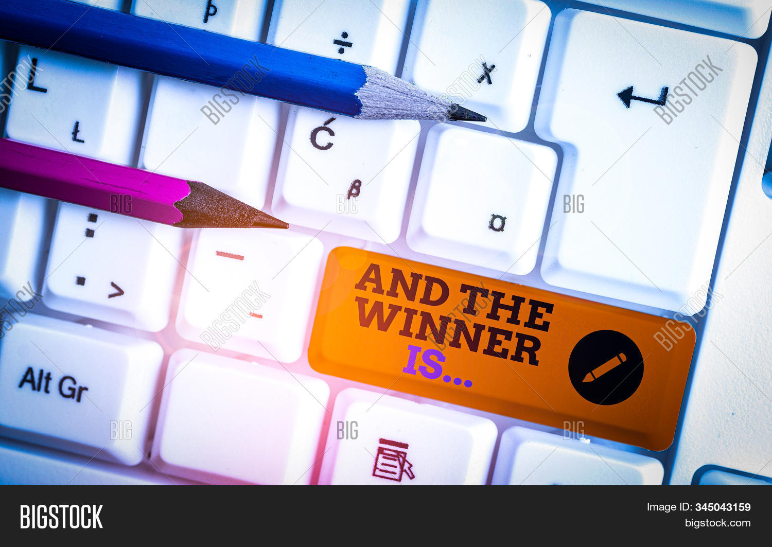 Conceptual hand writing showing And The Winner Is. Business photo showcasing announcing a demonstrating or thing that wins something White pc keyboard with note paper above the white background.