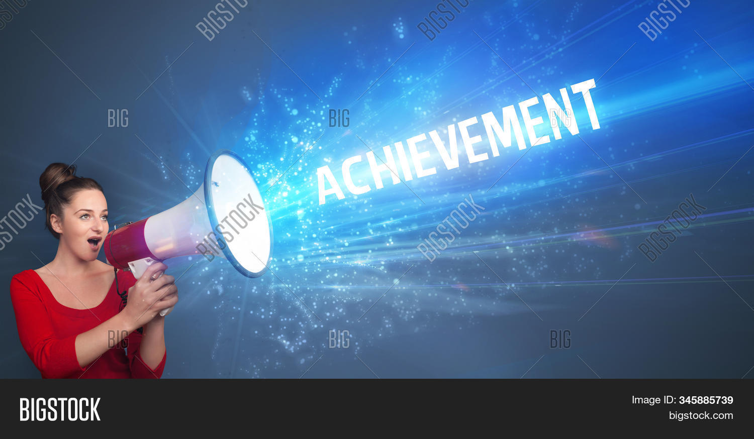 Young person shouting in loudspeaker with ACHIEVEMENT inscription, business concept