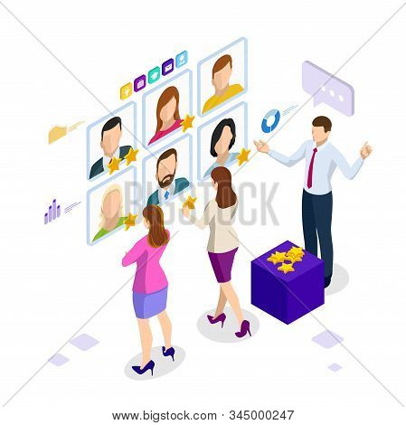 Isometric hiring and recruitment concept for web page, banner, presentation. Job interview, recruitment agency, recruitment process stock photo