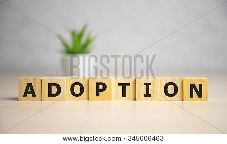 Word Adoption written on wooden blocks ob blue background. Famale concept. stock photo