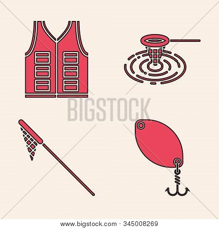 Set Fishing spoon, Fishing jacket, Fishing net in water and Fishing net icon. Vector stock photo