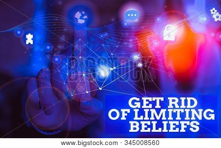 Handwriting text Get Rid Of Limiting Beliefs. Concept meaning remove negative beliefs and think positively Picture photo system network scheme modern technology smart device. stock photo