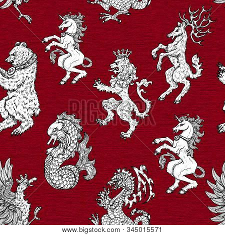 Seamless pattern with heraldic animals like lion, deer, beer, unicorn on background. Hand drawn engraved illustration with mythology and fantasy creatures, medieval coat of arms stock photo