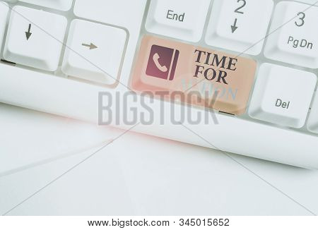 Text sign showing Time For Action. Conceptual photo getting ready to start doing encouragement Go fast White pc keyboard with empty note paper above white background key copy space. stock photo