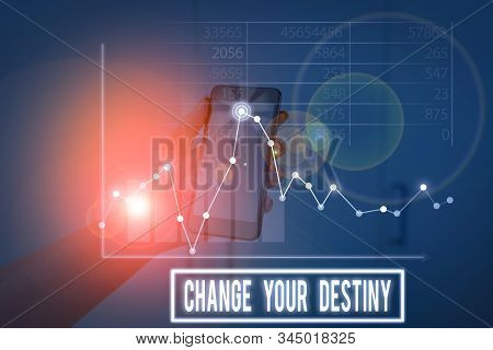 Conceptual hand writing showing Change Your Destiny. Business photo showcasing Rewriting Aiming Improving Start a Different Future. stock photo