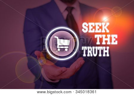 Conceptual hand writing showing Seek The Truth. Business photo text Looking for the real facts Investigate study discover. stock photo