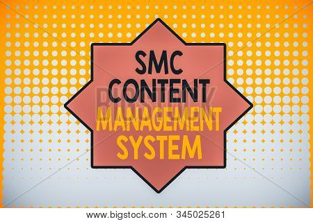 Writing note showing Smc Content Management System. Business photo showcasing analysisgae creation and modification of posts Vanishing dots middle background design. Gradient Pattern. Futuristic. stock photo