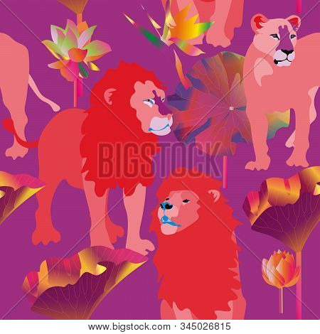 Red lions and lioness on pink background seamless vector illustration. Picture with exotic african animals, flowers and leaves palm tree. Vibrant saturated colors. EPS 10 stock photo
