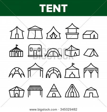 Tent Travel And Circus Collection Icons Set Vector Thin Line. Touristic Camp Tent And Festival Carnival, Marquee And Shelter Concept Linear Pictograms. Monochrome Contour Illustrations stock photo