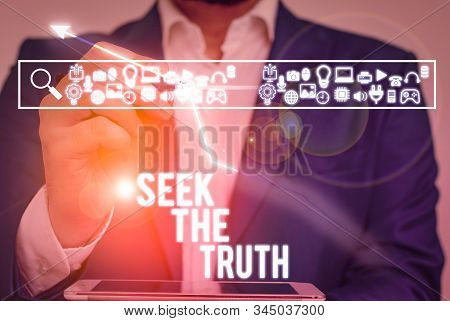 Writing note showing Seek The Truth. Business photo showcasing Looking for the real facts Investigate study discover. stock photo