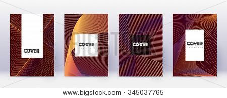 Hipster brochure design template set. Orange abstract lines on wine red background. Amusing brochure design. Attractive catalog, poster, book template etc. stock photo