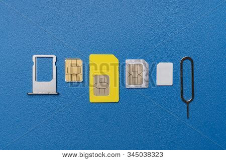 the three various sim cards - nano, micro, mini and normal sim, 5g or 4g wireless technology stock photo