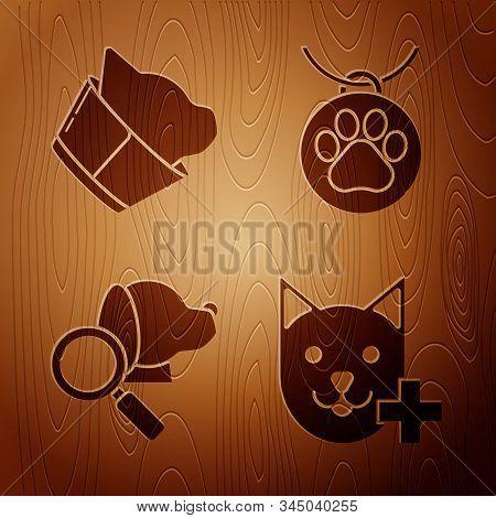 Set Veterinary clinic symbol, Veterinary clinic symbol, Veterinary clinic symbol and Collar with name tag on wooden background. Vector stock photo