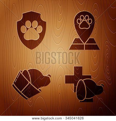 Set Veterinary clinic symbol, Animal health insurance, Veterinary clinic symbol and Map pointer with veterinary medicine hospital on wooden background. Vector stock photo