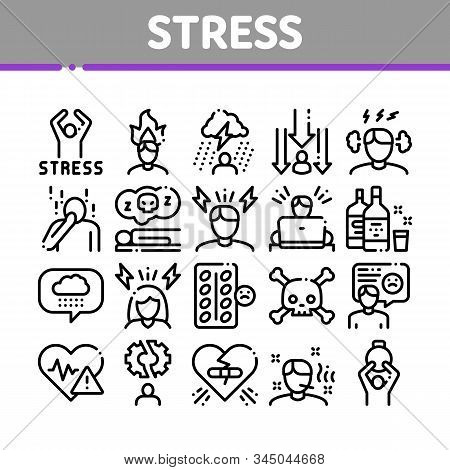 Stress And Depression Collection Icons Set Vector Thin Line. Anti Stress Pills And Alcoholic Drink Bottle, Angry Human And With Burning Head Concept Linear Pictograms. Monochrome Contour Illustrations stock photo