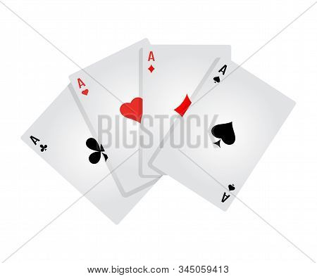 Four aces flat vector illustration. Game of chance. Playing poker. Card kare isolated clipart on white background. Winning combination. Casino games. Gambling, blackjack and baccarat stock photo