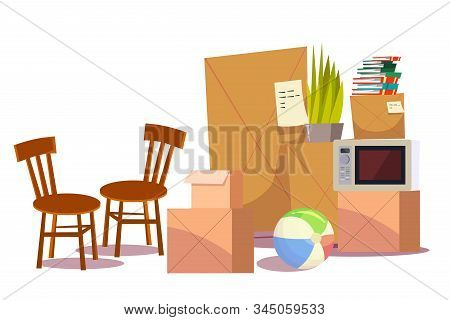 Personal belongings flat vector illustration. Moving to new apartment, relocation. Transportation business, freight service. Cardboard boxes with notes. Kitchen chairs, inflatable ball and houseplant stock photo