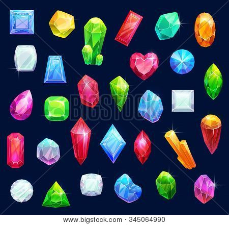 Gemstones, gem jewels, diamonds and jewelry precious stones. Vector ruby, sapphire crystal and emerald, opal and amethyst rhinestones, topaz and quartz gems in jewelry cut stock photo