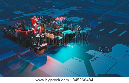 Industry 4.0. Abstract colorful machine, building isometric block on blue textured background. 3D illustration. stock photo