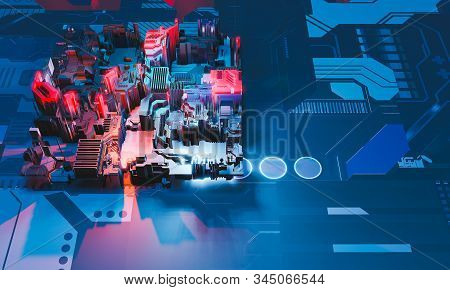Industry 4.0. Top view to abstract colorful machine, building isometric block on textured background. 3D illustration. stock photo