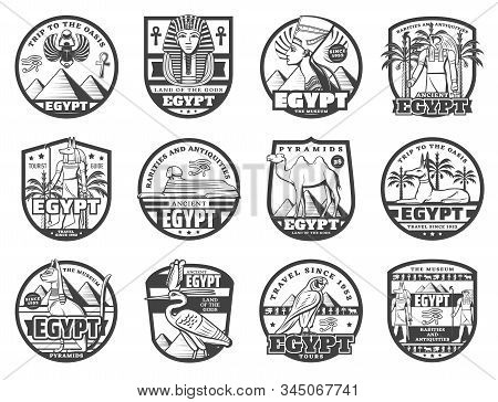 Egypt travel landmarks, ancient Egypt museum and rarity souvenirs shop signs. Vector tourism agency icons, Cairo pyramids and Sphinx, Tutankhamen pharaoh and Anubis god, scarab and Horus eye symbols stock photo
