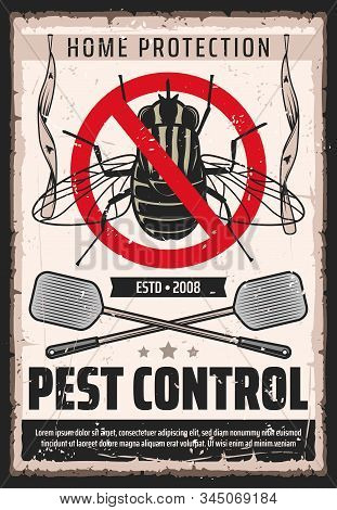 Fly insects pest control service, domestic bugs and moths extermination and home disinsection vintage retro poster. Vector flies fumigation, flypaper and swatter pest control and disinsection stock photo
