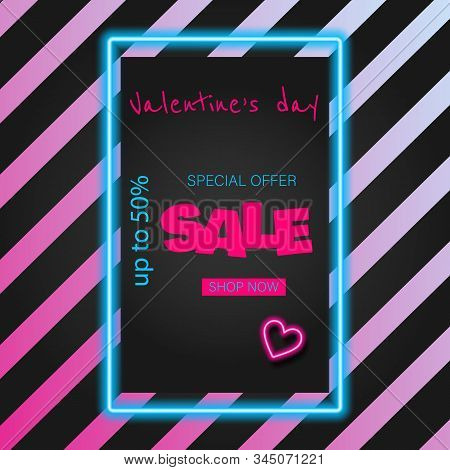 Valentine's Day Sale banner. Valentine's neon, valentine day, Valentine's Day background, Valentine's day banners, Valentines Day flyer, Valentines Day design, Valentines Day with Heart on black background, Copy space text area, vector illustration. stock photo