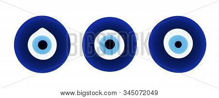 Set of evil eye protection signs, amulets stock photo
