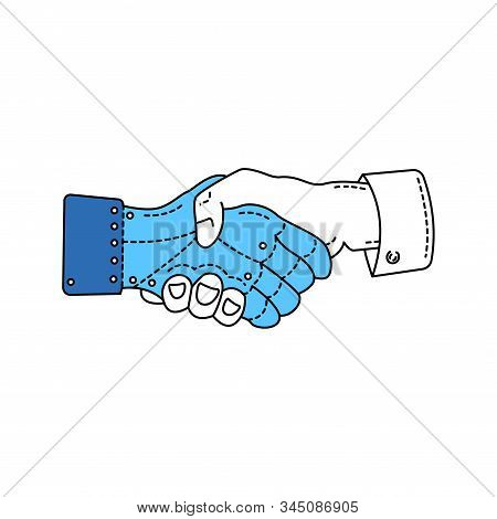 Shaking hands of artificial hand and real color line icon. Pictogram for web page, mobile app, promo. Human and robot. Editable stroke. stock photo