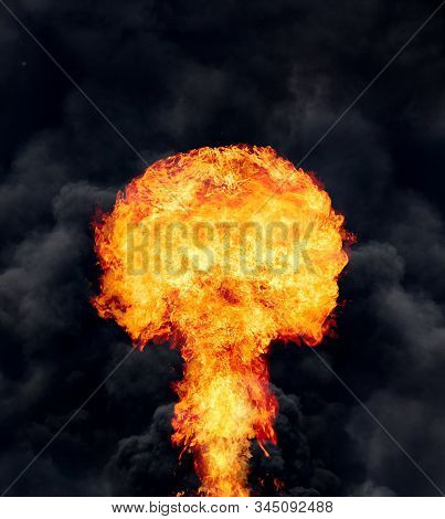 Explosion - fire mushroom. Mushroom cloud fireball from an explosion. Nuclear explosion. Symbol of environmental protection and the dangers of nuclear energy. stock photo