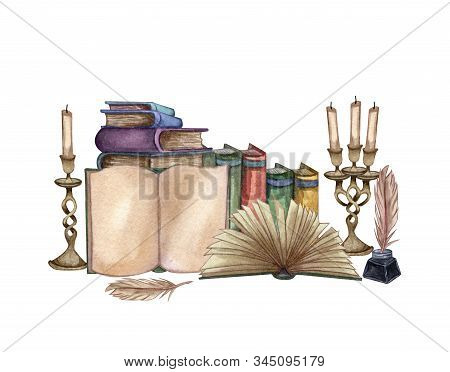 Hand Drawn watercolor illustration a pile of old books, ink bottle, ink feather, open book, rare paper, candles. Antique objects. Old and rare books. stock photo
