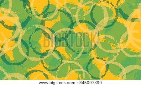 Grunge hand drawn circles geometry fabric print. Round shape blob overlapping elements vector seamless pattern. Paint texture circles geometry fabric ornament. stock photo