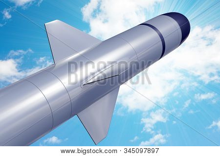 Combat tactical missile against the blue peaceful sky. 3d rendering, illustration. stock photo