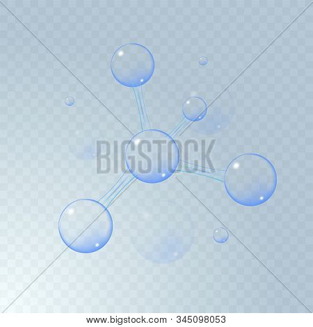 3d illustration of molecule model. Science or medical background with molecules and atoms. Medical background for banner or flyer. Molecular structure with blue transparent spherical particles. stock photo