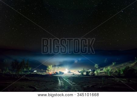a camping night in lut desert in iran stock photo