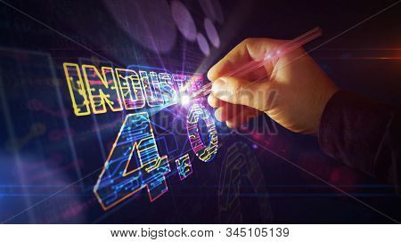 Industry 4.0 sign project creating. Abstract concept of innovation, cyber technology, business, automate factory and robotic production 3d illustration. Drawing digital scheme of futuristic idea. stock photo