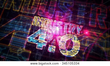 Industry 4.0 sign futuristic 3D rendering illustration. Concept of innovation, cyber technology, business, automate factory and robotic production. Abstract light symbol in deep 3d perspective. stock photo
