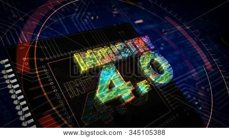 Industry 4.0 sign 3D rendered illustration. Concept of innovation, cyber technology, business, automate factory and robotic production. Abstract digital sign with board and CPU background. stock photo