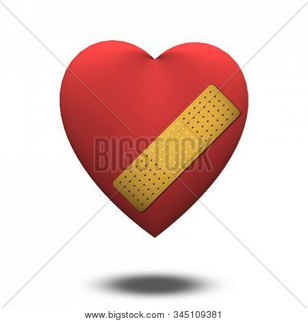 Classic Heart shape with bandaid. 3D rendering stock photo