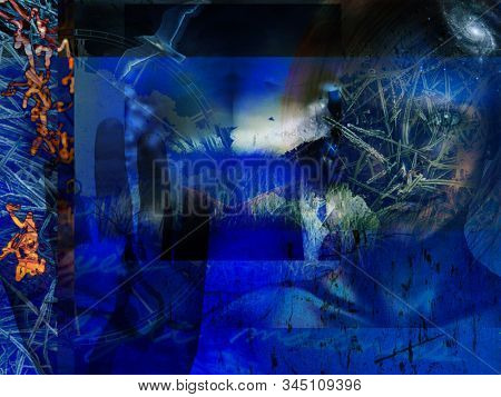 Modern Art. Grunge Blue Abstract with Woman. 3D rendering stock photo