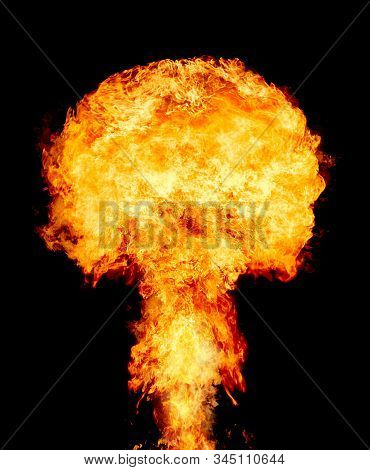 Explosion - fire mushroom. Mushroom cloud fireball from an explosion. Nuclear explosion. Symbol of environmental protection and the dangers of nuclear energy stock photo
